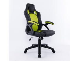 Brassex Office Chair with Gas Lift with Green Mesh in Black Faux Leather 9157-GR