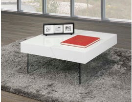 Brassex Storage Coffee Table with Tempered Glass in White 940-02