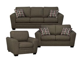 SBF Upholstery 3pc Fabric Living Room Set in Hailey Chrome 9555