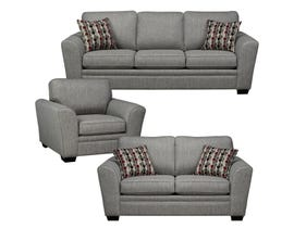 Sofa by Fancy Sorrento 3-Piece Fabric Living Room Set in Grey 9555