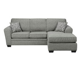 SBF Upholstery Sorrento Collection Fabric Sofa Sectional in Hailey Chrome Grey 9556-04