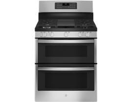 GE Appliances 30 inch 6.8 cu. ft. Double Oven Convection Gas Range in Stainless Steel JCGBS86SPSS