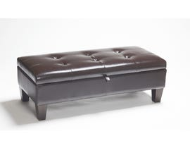 Chateau Imports Bonded Leather Ottoman in Brown 979-12