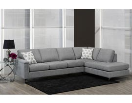 SBF Upholstery Hopkins Collection Fabric Sectional Sofa in Roma Ash Grey 9814-04-18
