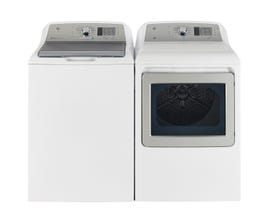 GE Laundry Pair 5.3 cu. ft. Top Load Washer & 7.4 cu. ft. Electric Dryer with Sensor Dry in White GTW680BMRWS GTD65EBMKWS