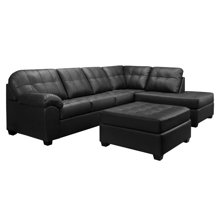 Sofa express by Fancy Boardwalk Collection polyurethane 2-piece sectional in black 9880