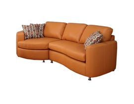 Sofa express by Fancy Morocco Collection leather-air 2-piece sectional salmon orange 9905