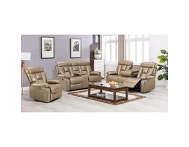 K-Living Stanley Series 3pc Leathaire Power Recliner Sofa Set in Sand 9912