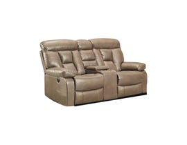 K-Living Stanley Series Leathaire Power Recliner Loveseat in Sand 9912