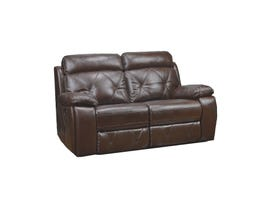 Kwality Akoni  leather gel reclining loveseat in brown 99410