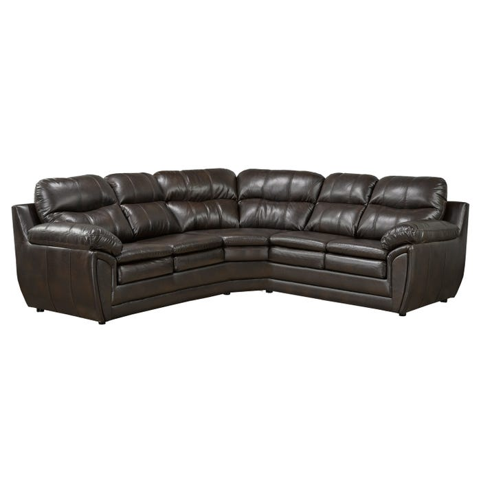 Sofa express by Fancy Quartz leather-air sectional in coffee brown 9952