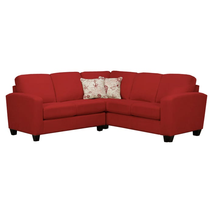Sofa express by Fancy Sedona Collection poppy in red fabric 2-piece sectional 9975