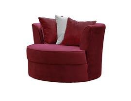 EWOOD Studio Fabric Swivel Chair in Juliette Burgundy 997-20