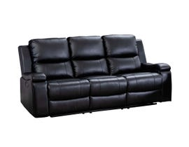 M.A.Z Leather Gel Reclining Sofa in black 99917BLK