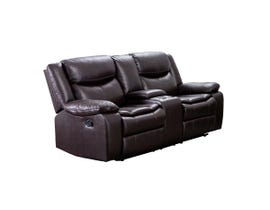M.A.Z Leather Aire Reclining Loveseat w/console in Brown 99918BRW