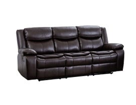 M.A.Z Leather Aire Reclining Sofa in Brown 99918BRW