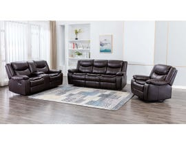 M.A.Z 3 PC Leather Aire Reclining Sofa Set in Brown 99918BRW