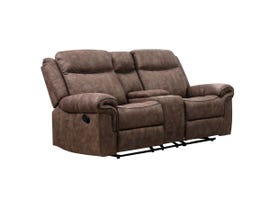 M.A.Z Fabric Reclining Loveseat /w Console & USB Port in Brown 99919BRF