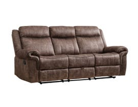 M.A.Z Fabric Reclining Sofa in Brown 99919BRF