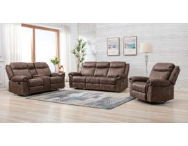 M.A.Z Fabric Reclining Sofa Set in Brown 99919BRF