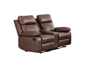 M.A.Z Polished Microfibre Motion Reclining Loveseat with Console in Brown 99948BRW