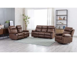 M.A.Z Polished Microfibre Motion Reclining Sofa Set with Console in Brown 99948BRW