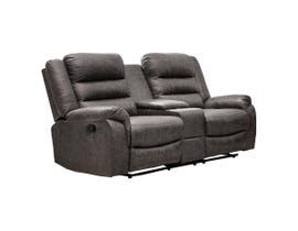 M.A.Z Microfiber Reclining Loveseat with Console in Grey Polished 99950