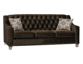 SBF Upholstery Brighton Collection Tufted Back Fabric Sofa with Button in Cocoa Finish 2269 -1