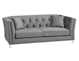 SBF Upholstery Addison Collection Tight Back Tufted Fabric Sofa with Button in Molfino Silver 2555-1