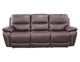 High Society Salvatore Series Leather Power Motion Sofa in Walnut
