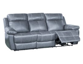Amalfi Home Furniture Leather Reclining Sofa in Starry Grey 1984