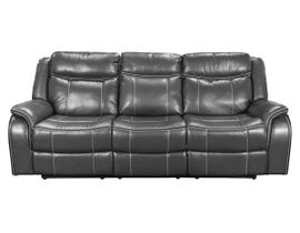 Amalfi Home Furniture Leather Gel Reclining Sofa with Drop Tray in Grey JR03