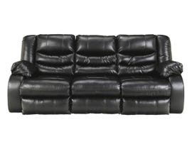 McMurry Leather Look Reclining Sofa w/Drop Down Table in Black MCMURRAY-BPU