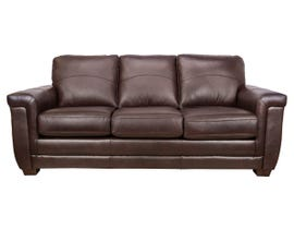 SBF Upholstery Zurick Collection Leather Sofa in Cranberry Brown 4395