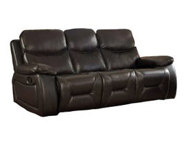 Beverly Leather Air Manual Reclining Sofa w/Drop Down Table in Chocolate Brown