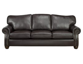 SBF Upholstery Heritage Leather Air Sofa in Brown 8350