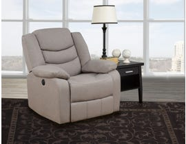 Brassex Kingston Collection Fabric Power Recliner in Beige 12943