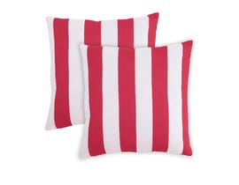 Signature Design by Ashley Hutto White/Red Stripe Pattern Pillow A1000691 (Pair)