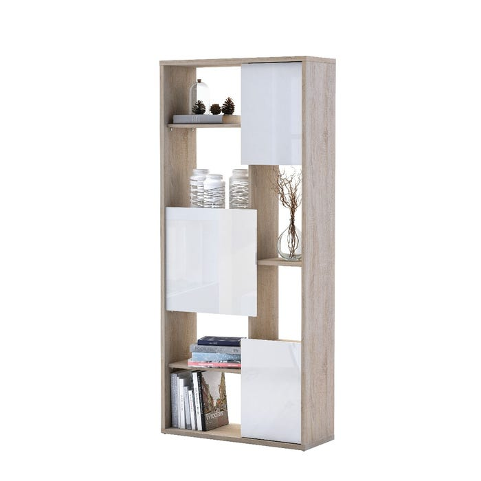Primo International Room Divider Bookcase in Brush Oak/White 2917
