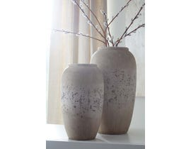 Signature Design by Ashley DIMITRA Series Brown and antique cream painted ceramic Vases A2000110  (set of 2)