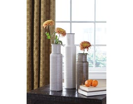 Signature Design by Ashley DEUS Series White, gray and brown glazed ceramic Vases A2000132 (set of 3)