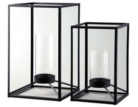 Signature Design by Ashley DIMTROIS Series Black finished metal and clear glass lanterns A2000133 (set of 3)