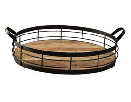 Signature Design by Ashley DIANTHA Series Black finished metal and natural wood tray A2000134