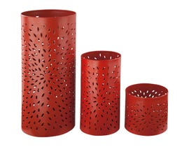Signature Design by Ashley CAELAN Orange Series orange finished metal Candle Holders A2000158 (set of 3)