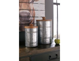 Signature Design by Ashley Divakar Series Natural finished wood and antique galvanized metal Jars A2000174 (set of 2)