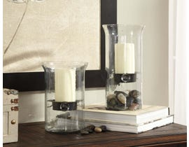 Signature Design by Ashley KADEEM Series Clear glass and black finished metal Candle Holders A2000175 (set of 2)