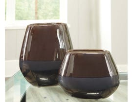 Signature Design by Ashley EMILIANO Series Taupe reactive glazed ceramic vases A2000185 (set of 3)