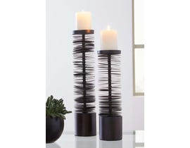 Signature Design by Ashley CONSTANCE Series Brown finished metal Candle Holders A2000199 (set of 2)