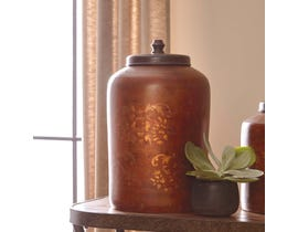 Signature Design by Ashley ODALIS Series Orange and tan finished terracotta and brown finished wood Jar A2000221