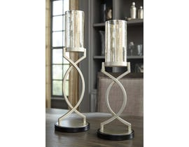 Signature Design by Ashley ODELE Series Mercury glass and silver finished metal candle holders A2000234